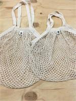 Cotton Net Long Handle Tote Bag - comparison with Short Handle bag