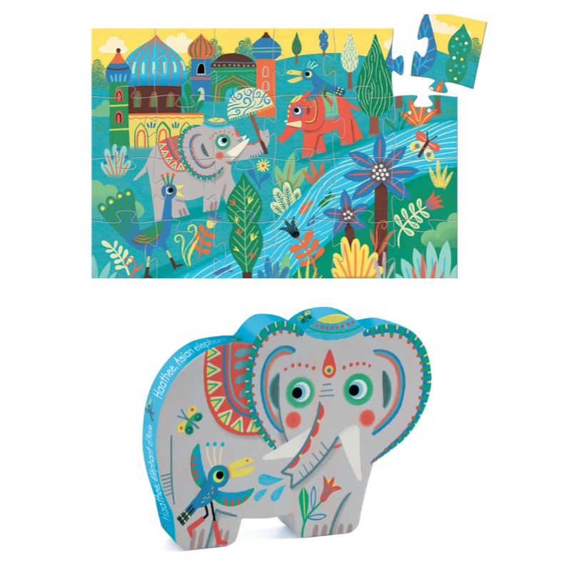 Kids Jigsaw Puzzles| Djeco Haathee Asian Elephant Puzzle 24pc