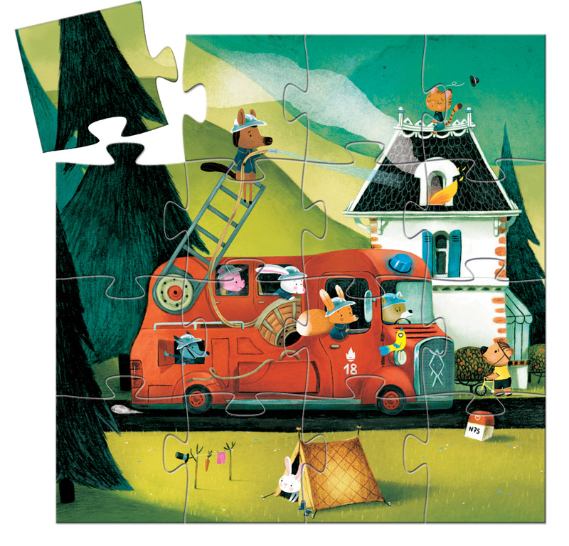The Fire Truck Silhouette Puzzle 16pc