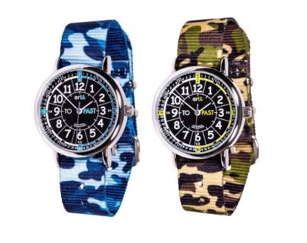 EasyRead Time Teacher Kids First Watch Past/To Camo Watch