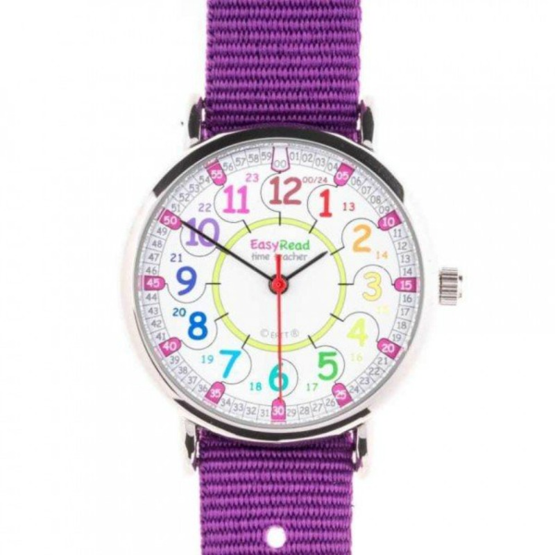 EasyRead Time Teacher Past/To Rainbow Face Watch PURPLE