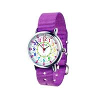 EasyRead Waterproof Time Teacher 12/24 Hour Watch - Rainbow Purple strap