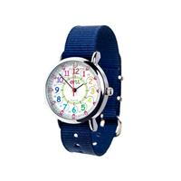 EasyRead Waterproof Time Teacher 12/24 Hour Watch - Rainbow Navy strap