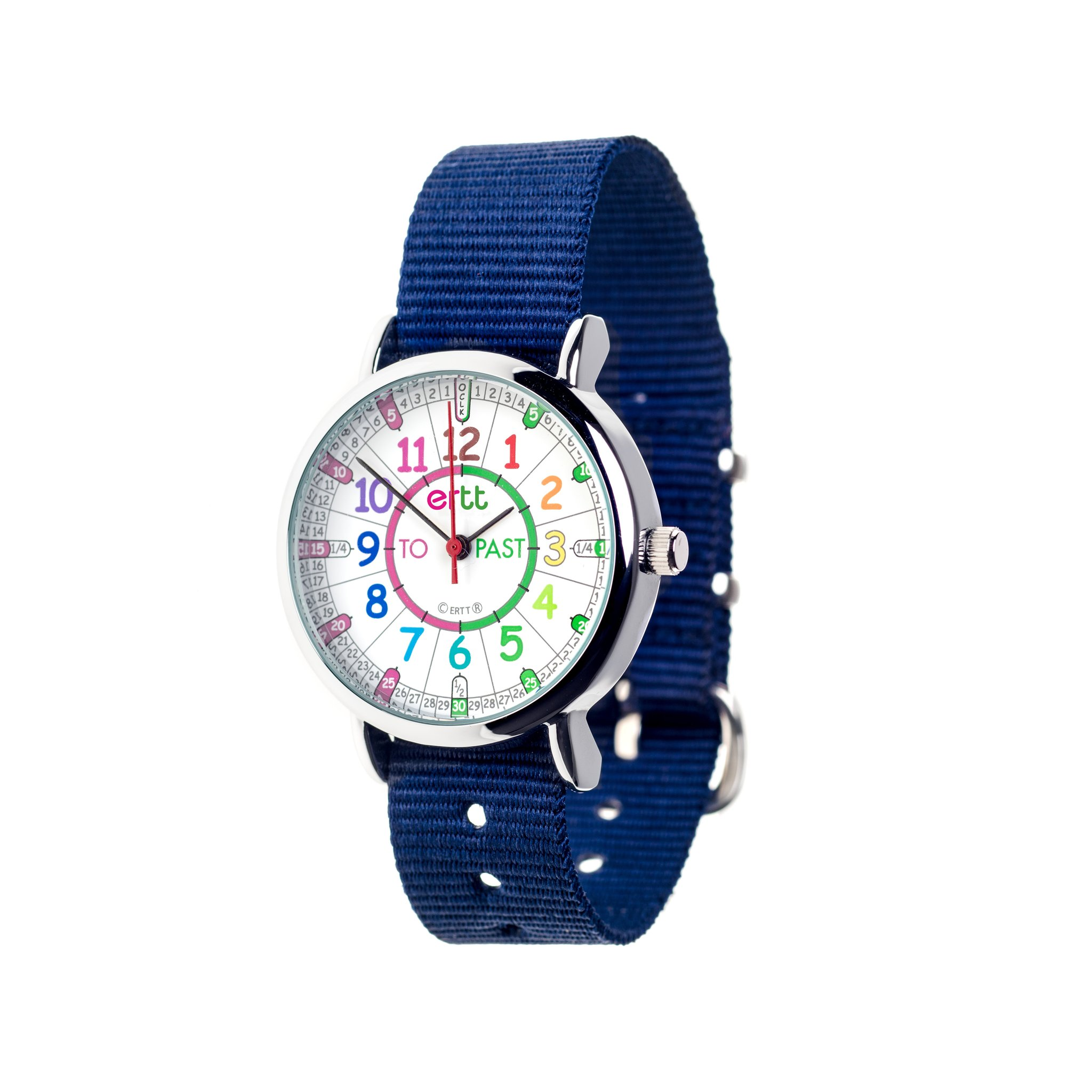 EasyRead Waterproof Time Teacher Past/To Watch-Rainbow Navy strap