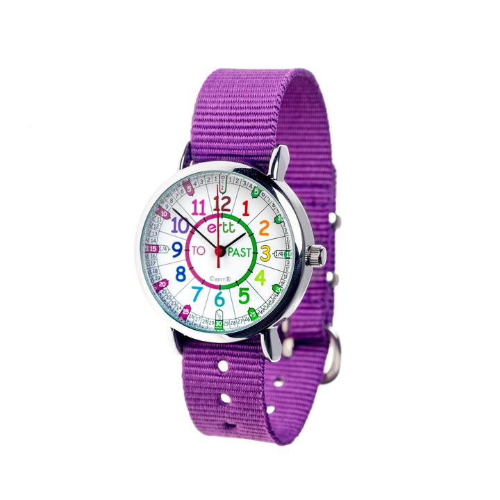 EasyRead Waterproof Time Teacher Past/To Watch - Rainbow Purple strap