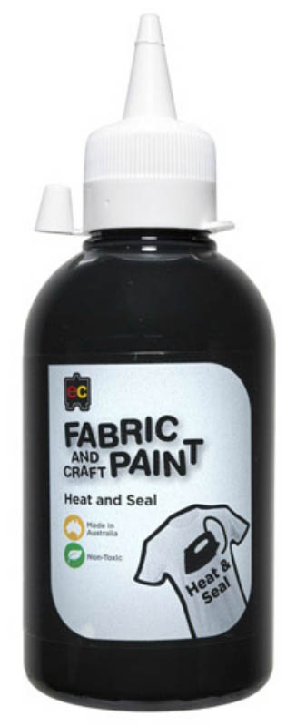 EC - Fabric and Craft Paint 250ml - Heat and Seal - Black