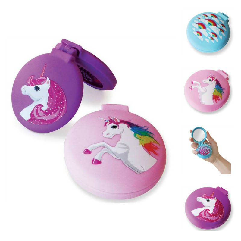 Flip - Compact Unicorn/Rainbow Hairbrush / Mirror