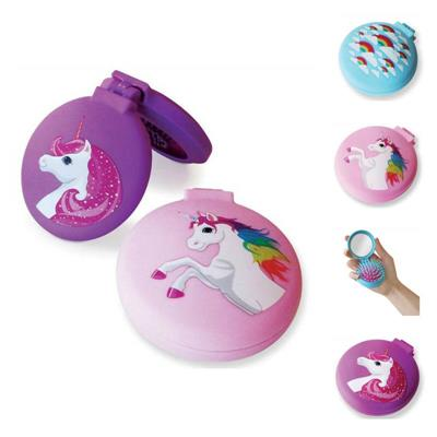 Compact Unicorn Hairbrush / Mirror