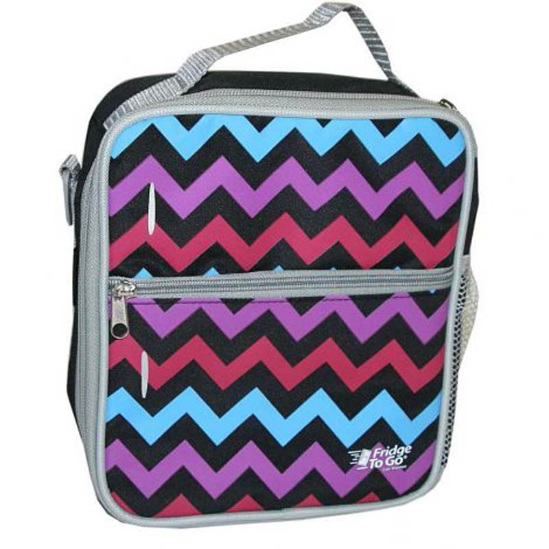 Fridge To Go Lunch Bag Medium Chevron Pink