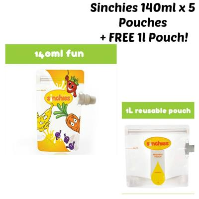 Fun Sinchies Reusable Food Pouches 140ml 5 pack + FREE 1L Pouch!