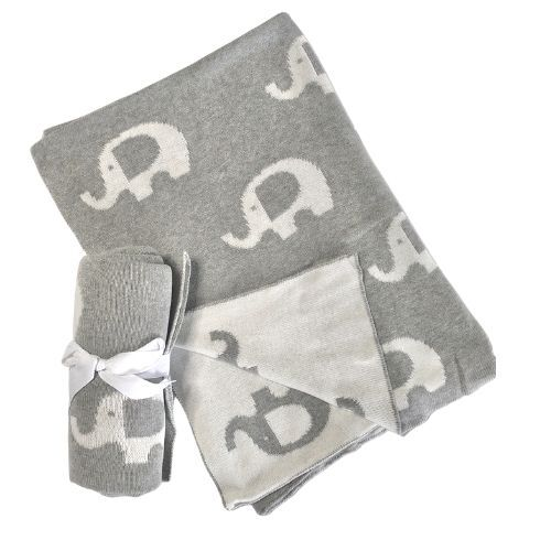 Grey Elephant Knitted Baby Blanket