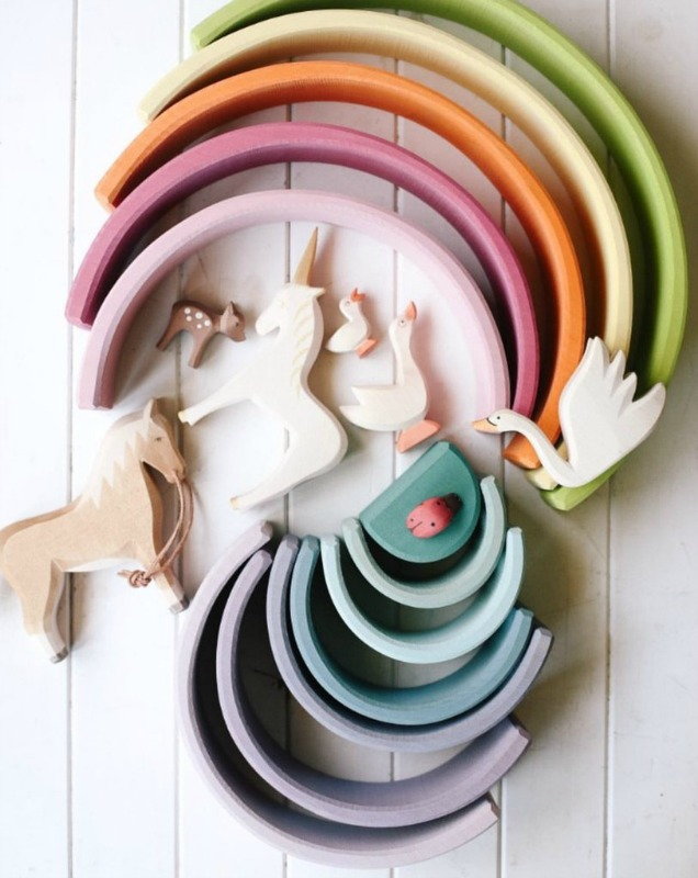 Grimm's Large Wooden Pastel Rainbow 12pcs