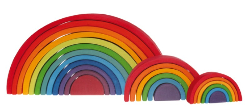 Grimm's Large Wooden Rainbow 12pcs pictured with Medium and Small Rainbows , sold separately.