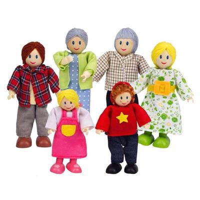 Hape Caucasian Doll Family Set of 6