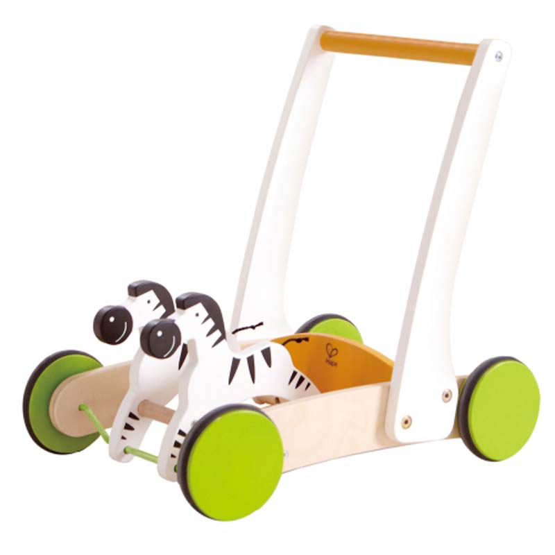 Hape - Wooden Toys - Galloping Zebra Cart