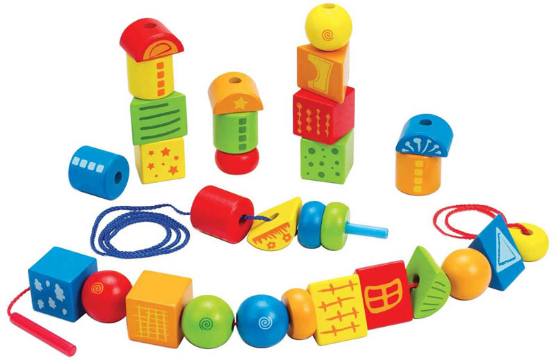 Hape - Wooden Toys - String Along Shapes/Creative Laces