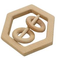Hexagon Wooden Baby Rattle