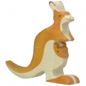 Holztiger Wooden Kangaroo with Young Play Figurine