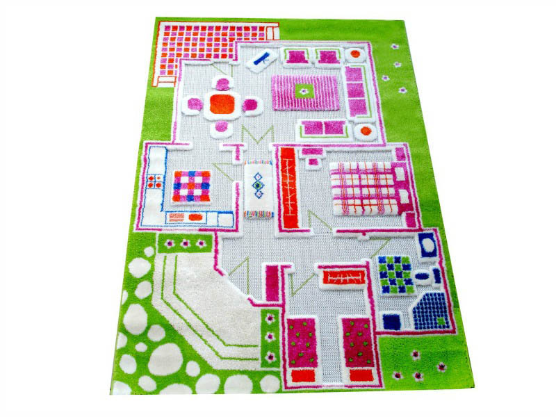 IVI 3D Play Rug-Playhouse Green-Medium 100x150