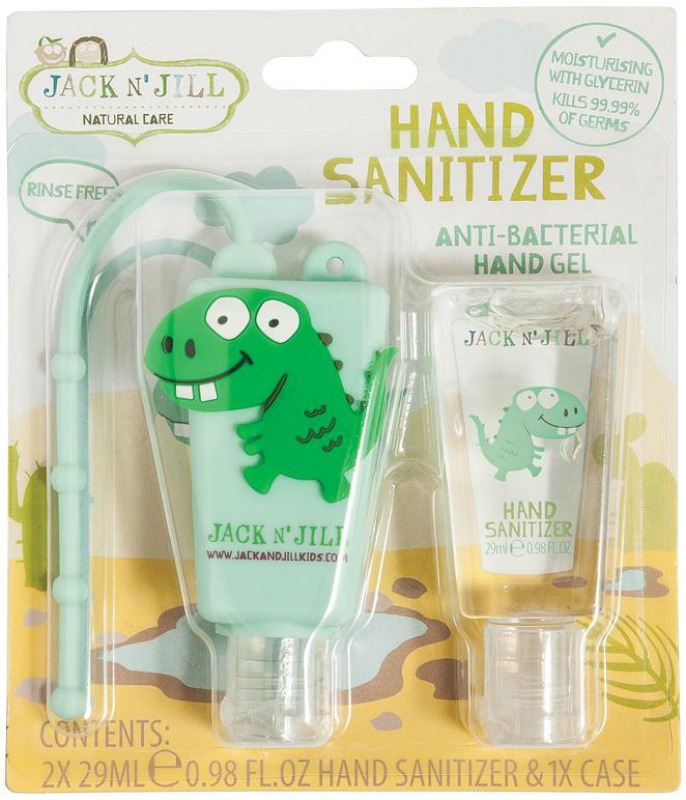 Jack N Jill Dino Hand Sanitiser 2pk and Holder