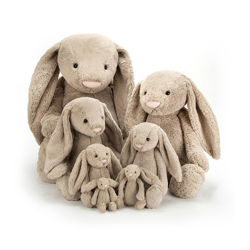Jellycat Bashful Beige Bunny Comparison - tiny, small, medium, large, huge,really big, really really big