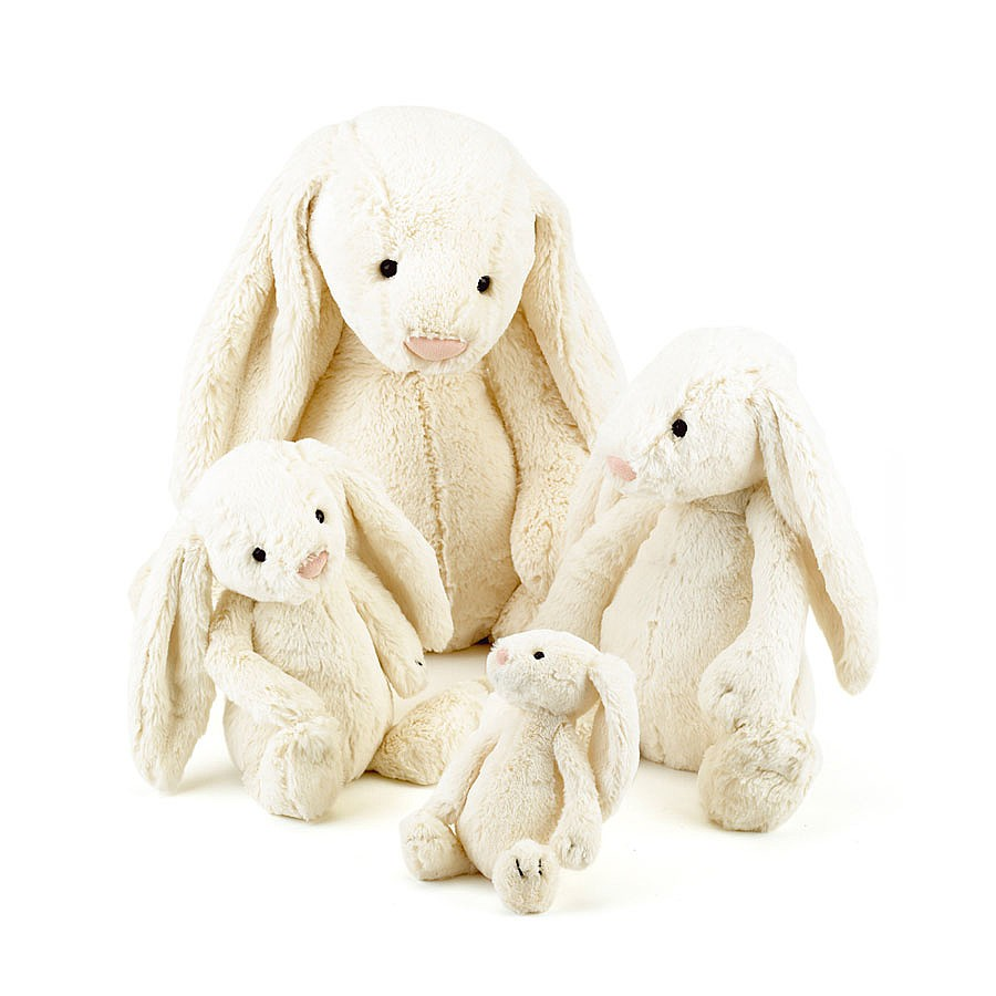 Jellycat Bashful Cream Bunny Comparison - small,medium,large,huge