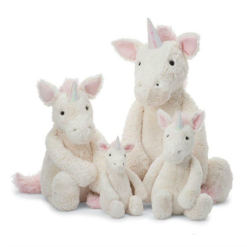 Jellycat Bashful Unicorn Comparison - small,medium,large,huge