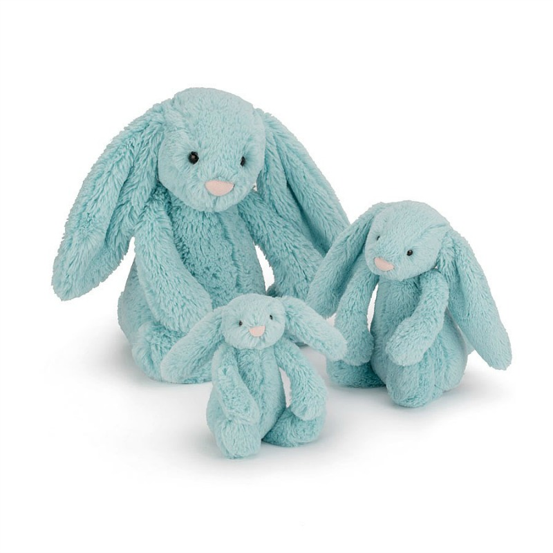 Jellycat Bashful Aqua Bunny Comparison - tiny,small,medium