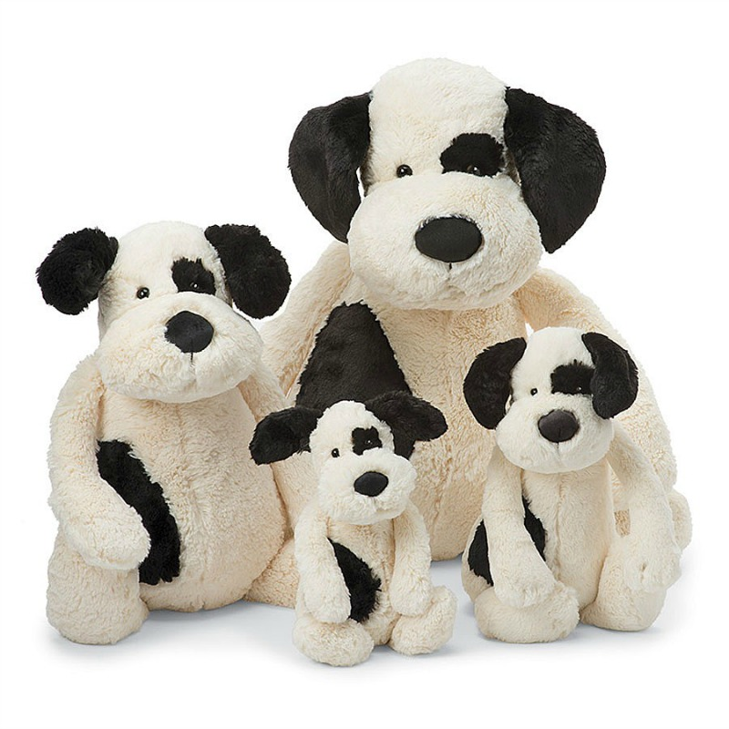 Jellycat Bashful Black Cream Puppy Comparison - tiny,small,medium,large