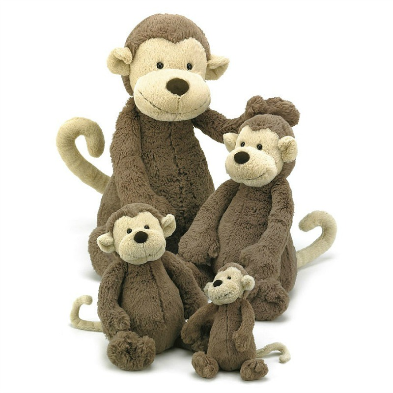Jellycat Bashful Monkey Comparison-tiny,small,medium,large