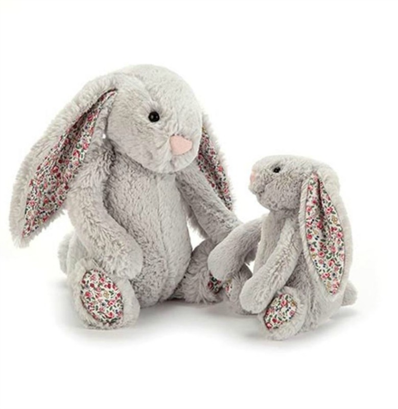 Jellycat Medium Bashful Silver Blossom Bunny - pictured with Small, sold separately.