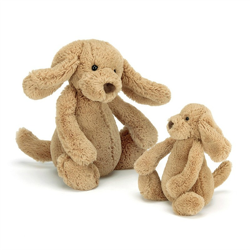 Jellycat Bashful Toffee Puppy Comparison - small and medium
