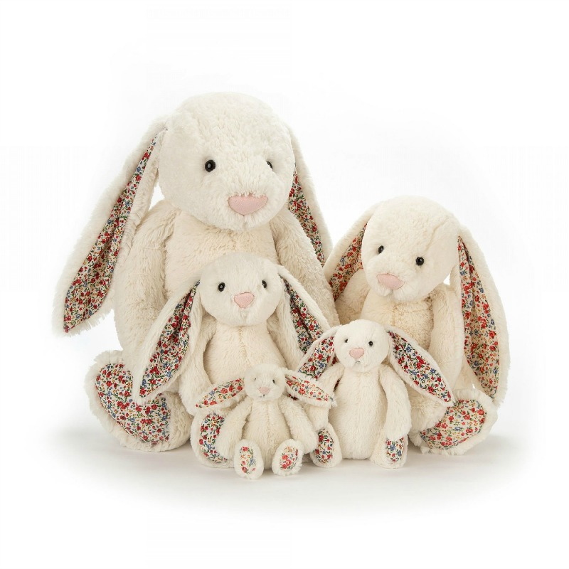 Jellycat Bashful Cream Blossom Bunny Size Comparison- Tiny, Small, Medium, Large, Huge
