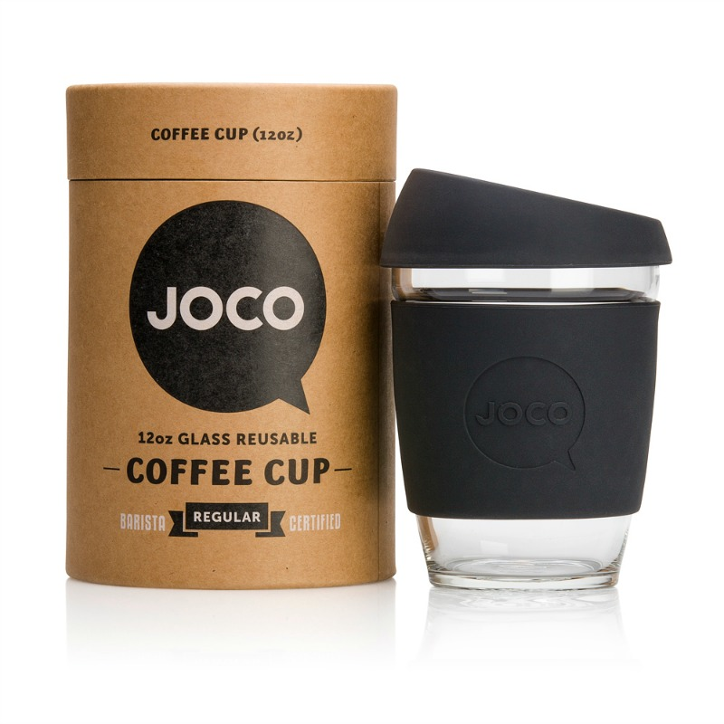 JOCO Reusable Glass Cup Black 354ml (packaging may vary)