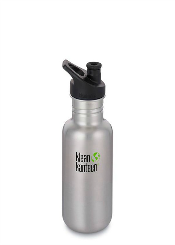 Klean Kanteen Classic Sports Cap Drink Bottle 532ml Brushed Stainless Steel