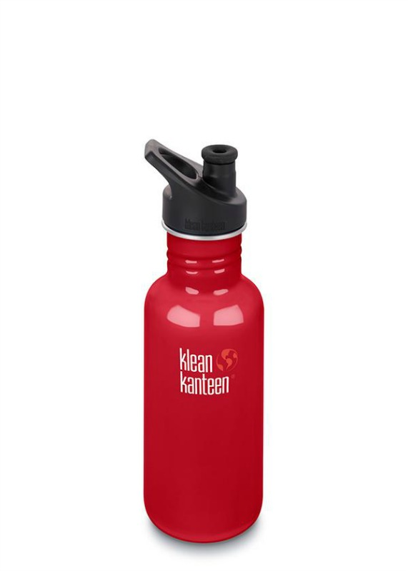 Klean Kanteen NEW Classic Sports Cap Drink Bottle 532ml Mineral Red