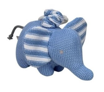 Baby Pram Toy Knitted Elephant Blue