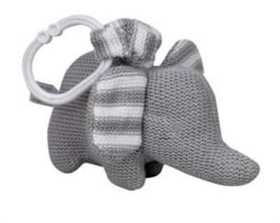 Knitted Elephant Pram Toy Grey