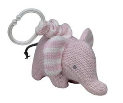 Knitted Elephant Pram Toy Pink