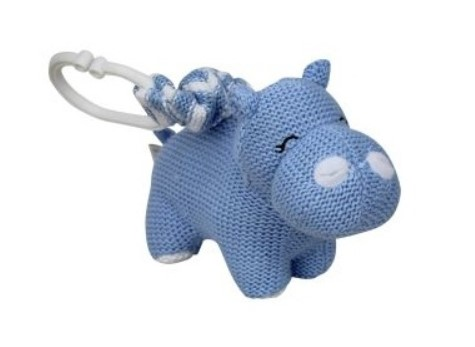 Baby Pram Toy Knitted Hippo Blue
