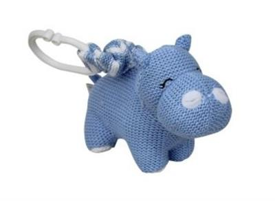 Knitted Hippo Pram Toy Blue