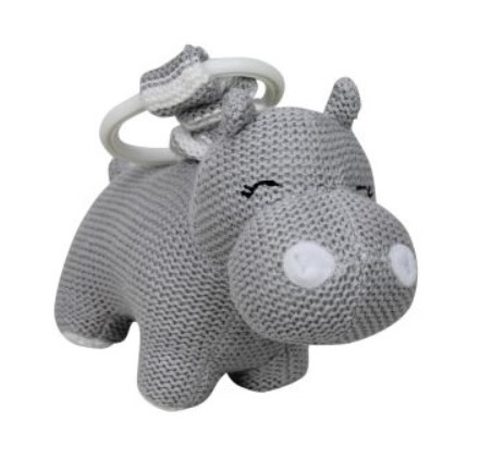 Baby Pram Toy Knitted Hippo Grey