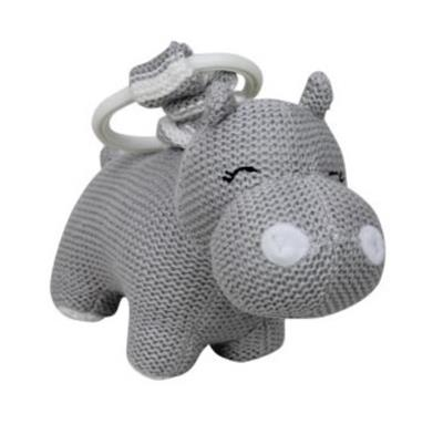 Knitted Hippo Pram Toy Grey