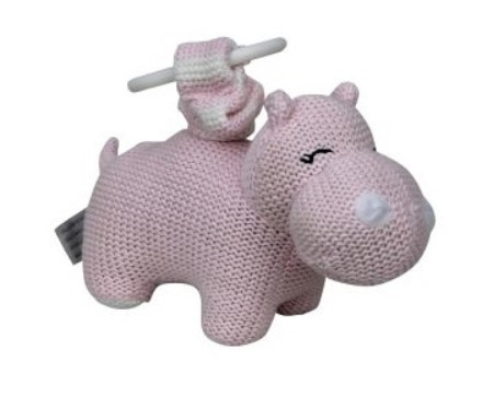 Baby Pram Toy Knitted Hippo Pink