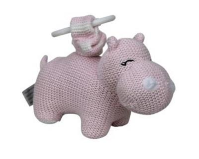 Knitted Hippo Pram Toy Pink