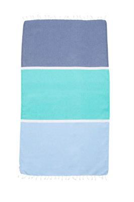 Knotty Colourblock Turkish Towel - Bluey