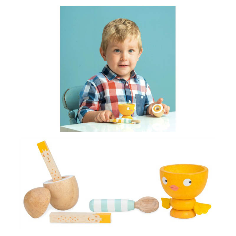 Le Toy Van-Wooden Play Food - Chicky-Chick Egg Cup Set