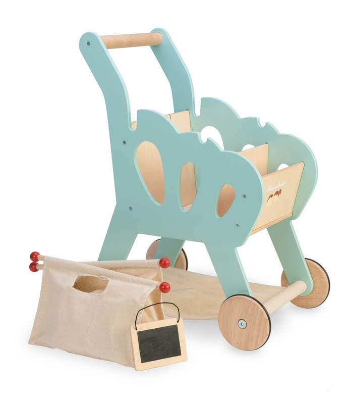Le Toy Van-Wooden Play Food - Shopping Trolley with detatchable bag