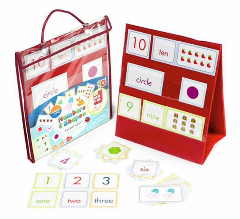 Learn and Play Numbers and Shapes Pocket Chart
