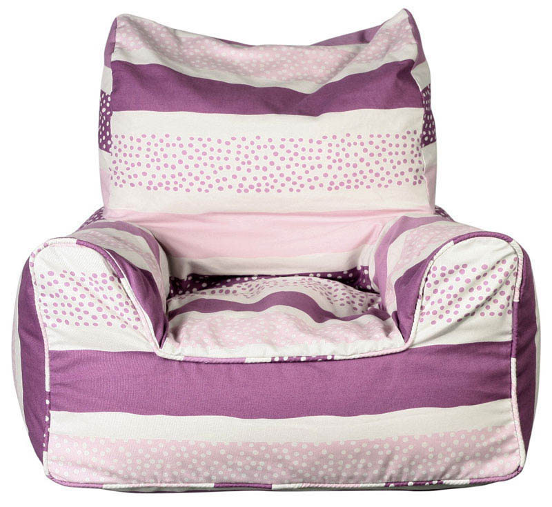 Lelbys-Kids Bean Bags-Bean Chair {Pink Stripey Dots}